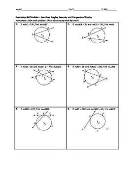 Geometry Skill Builder - Inscribed Angles, Secants, and Ta