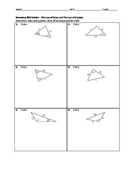 Geometry Skill Builder - Law of Sines and Law of Cosines