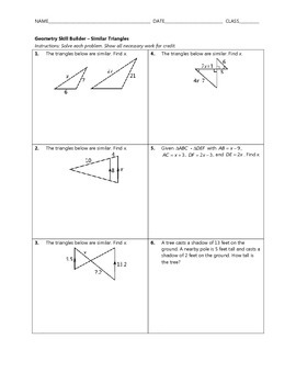 Geometry Skill Builder - Similar Triangles