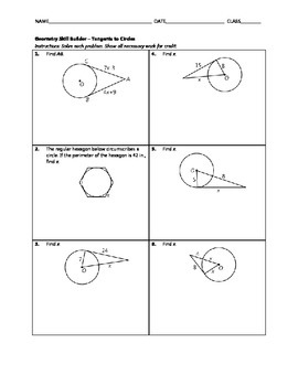 Geometry Skill Builder - Tangents to Circles