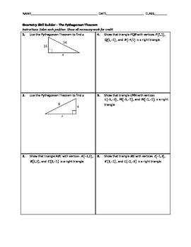 Geometry Skill Builder - The Pythagorean Theorem