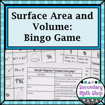 Surface Area and Volume BINGO Game!