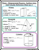 Surface Area & Volume of 3-Dimensional Figures Graphic Org