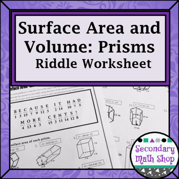 Surface Area and Volume of Prisms Riddle Worksheet