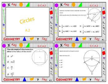 Geometry Task Card Review - Circles and Geometric Properti