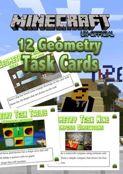Geometry Task Cards - Minecraft Theme - NZ level 2 AGES 7