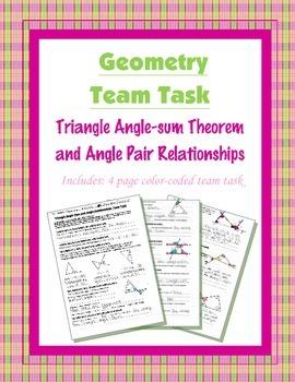 Geometry {Team Task} ~ Triangle Angle-sum and Angle Pair R