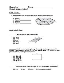 Geometry Test - Areas of Plane Figures