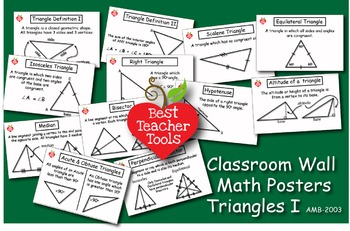 Math Posters, Math Concept Posters, Geometry: Triangles I