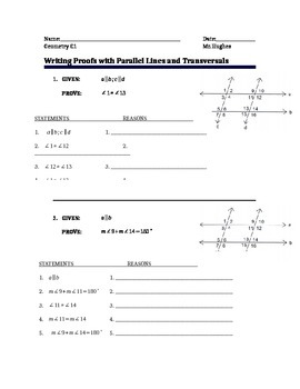 Geometry - Two Column Proofs for Parallel Lines and Transv