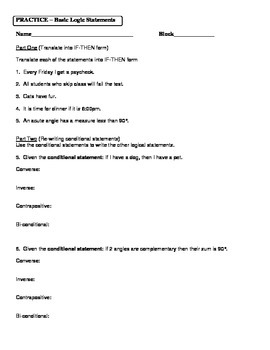 Geometry Unit 2 Logic Statements Worksheet