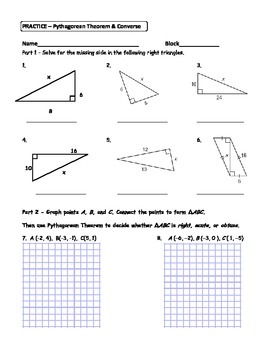 Geometry Unit 4 Triangles Pythagorean Theorem and Converse