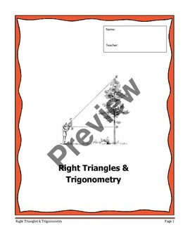 Geometry Unit 6 Notetaking Guide - Right Triangles and Tri