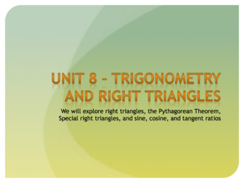 Geometry Unit Plan 7 - Trigonometry and Right Triangles