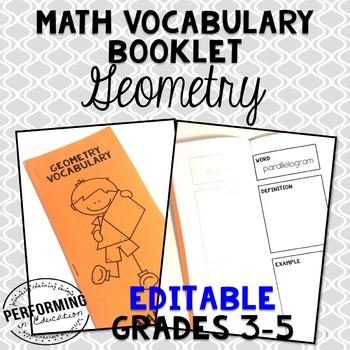 Geometry Vocabulary Booklet: EDITABLE Math Vocabulary Resource