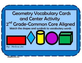 Geometry Vocabulary Cards and Center Activity 2nd Grade