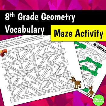 Geometry Vocabulary Maze Activity 8th Grade