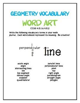 Geometry Vocabulary Word Art
