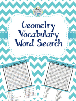 Geometry Vocabulary Word Search