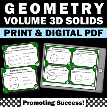 Geometry Volume of 3D Solids Task Cards 7th 8th Grade Math