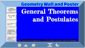 Geometry Wall and Poster : Theorems and Postulates