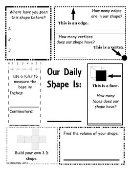 Geometry - Weekly or Daily Shape Practice 2D & 3D Shapes