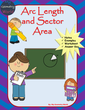 Geometry Worksheet Arc Length And Sector Area By My Geometry World
