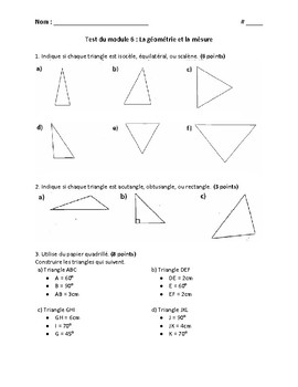 Geometry and Measurement Test and Review - French