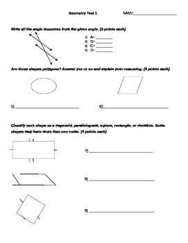 Geometry test == 6-9 grades