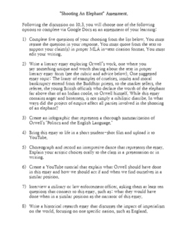 "George Orwell's ""Shooting An Elephant"" Assessment Options Doc"