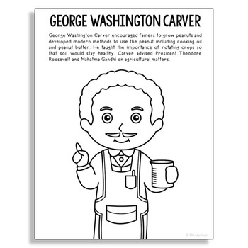 George Washington Carver Coloring Page Activity with Biogr
