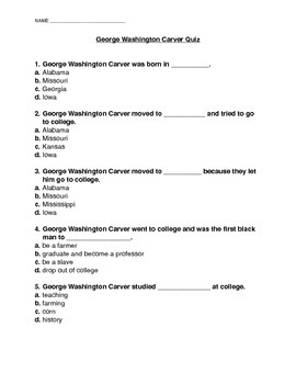 George Washington Carver Quiz