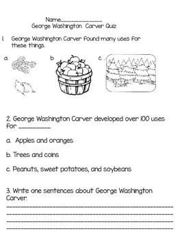 George Washington Carver Say What Quiz?