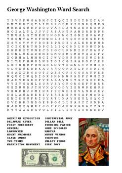 George Washington Crossword and Word Search