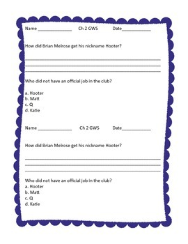 George Washington Socks Chapter Quizzes