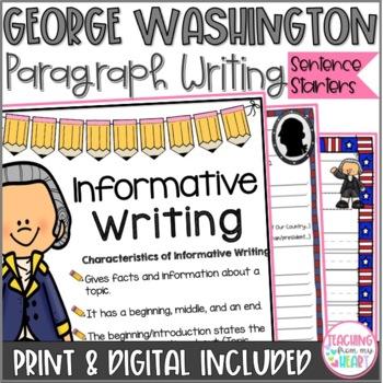 George Washington Writing Sentence Starters/Frames, Close