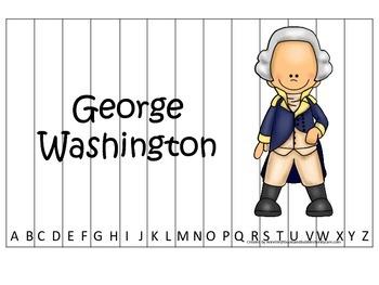 George Washington themed Alphabet Sequence Puzzle.  Presch