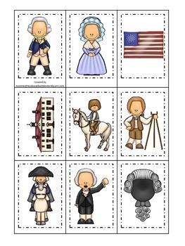 George Washington themed Memory Matching Cards.  Preschool