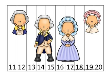 George Washington themed Number Sequence Puzzle 11-20.  Pr