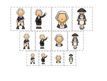 George Washington themed Size Sorting preschool learning a