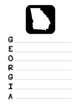 Georgia State Acrostic Poem Template, Project, Activity, W