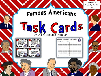 Georgia Famous Americans Task Card Kit- Scoot Game/ Center