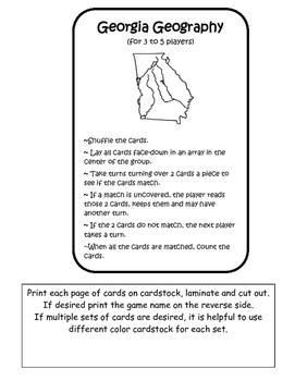 Georgia Geography Card Game