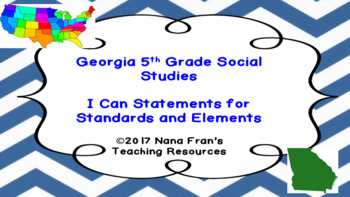 Georgia Grade 5 Social Studies I Can Statement Posters