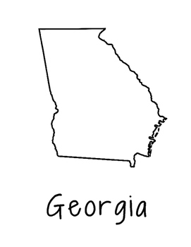 Georgia Map Coloring Page Activity - Lots of Room for Note