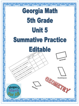 Georgia Math 5th grade Unit 5 Summative Practice - Editable