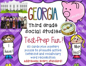 Georgia Mega Pack Social Studies Third Grade Test Prep I h