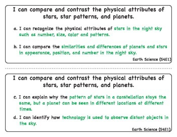 """Georgia Performance Standards Fourth Grade Science """"I Can"""""""