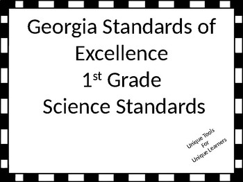 Georgia Standards of Excellence 1st Grade Science