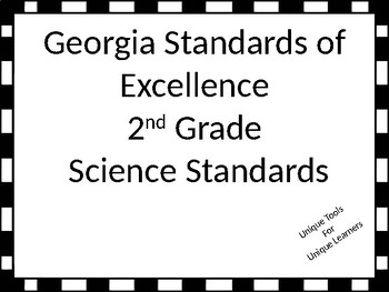 Georgia Standards of Excellence 2nd grade Science Standards